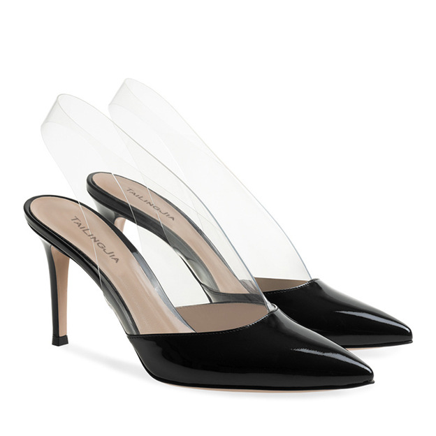 Women's Patent Leather PVC Heels Flip Flops Fashion Shoes