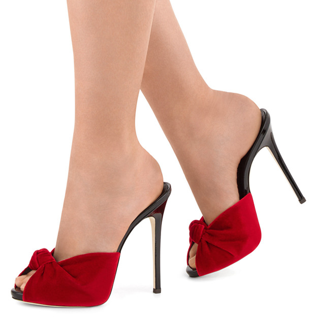 Women's Velvet With Pleated Heels Peep Toe SlingBacks Fashion Shoes