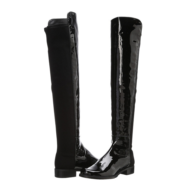 Women's Patent Leather Close Toe Over The Knee Boots Shoes