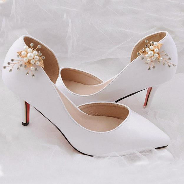Women's Satin With Rhinestone/Imitation Pearl Close Toe Heels Wedding Shoes