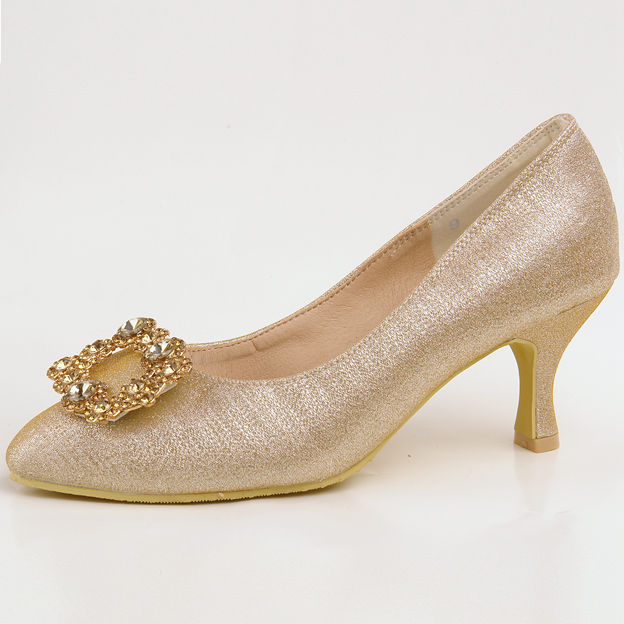 Women's Sparkling Glitter With Rhinestone Close Toe Heels Wedding Shoes