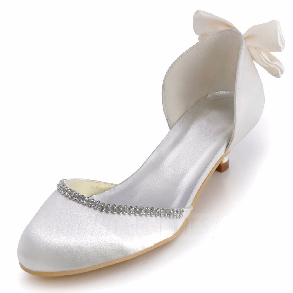 Women's Satin With Bowknot Close Toe Sandals Wedding Shoes