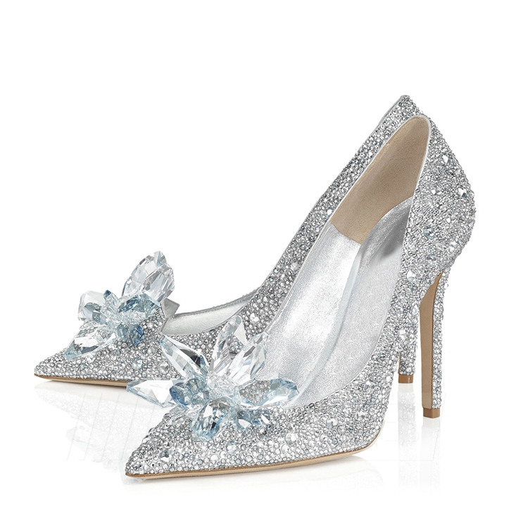 Women's PU With Crystal Close Toe Heels Wedding Shoes