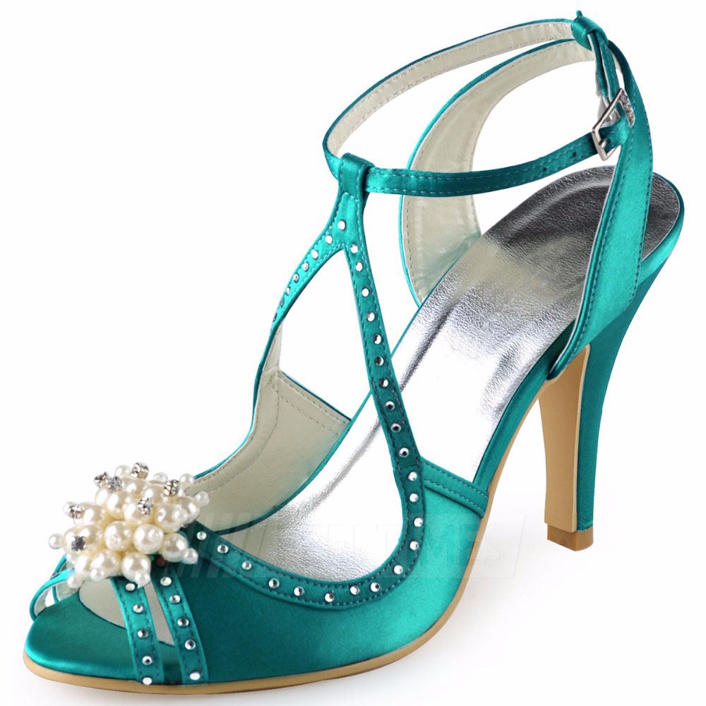 Women's Satin With Imitation Pearl/Ankle Strap Heels Peep Toe Fashion Shoes