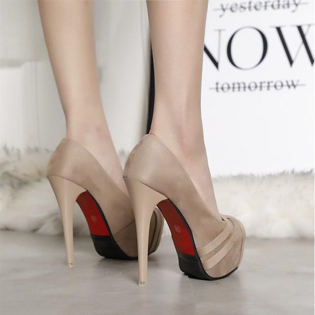 Women's Suede Platform Heels Fashion Shoes
