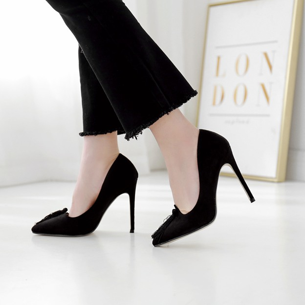 Women's Suede With Tassel Pumps Heels Close Toe Fashion Shoes Wedding Casual & Shopping