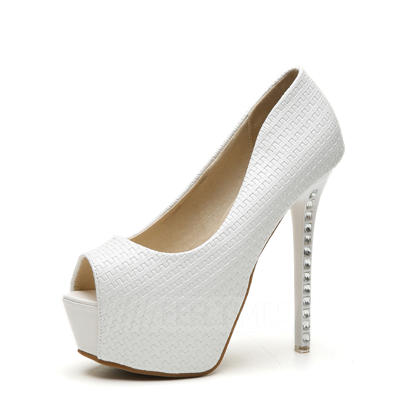 Women's Leatherette With Rhinestone Platform Pumps Heels Fashion Shoes