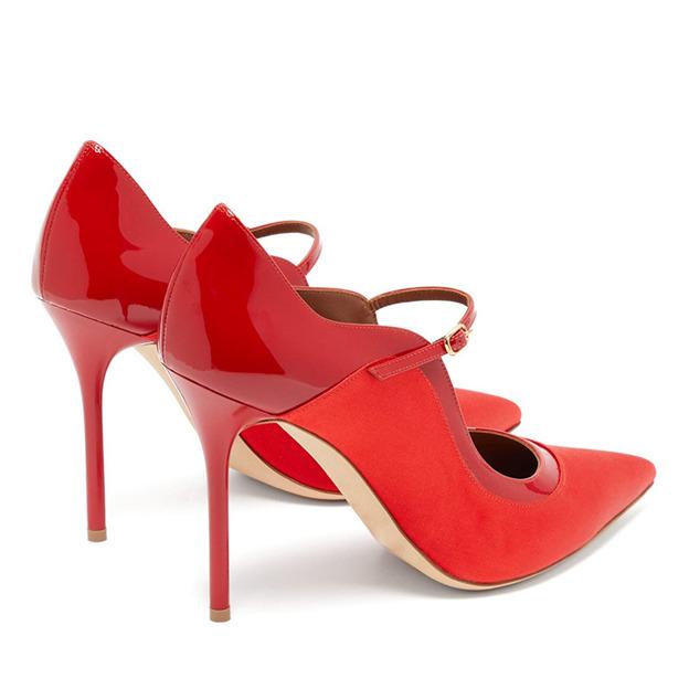 Women's Satin Patent Leather Close Toe Heels Fashion Shoes