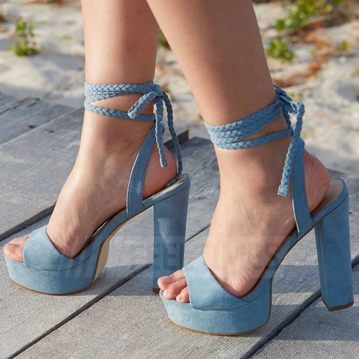 Women's Leatherette With Lace-up Sandals Heels Fashion Shoes