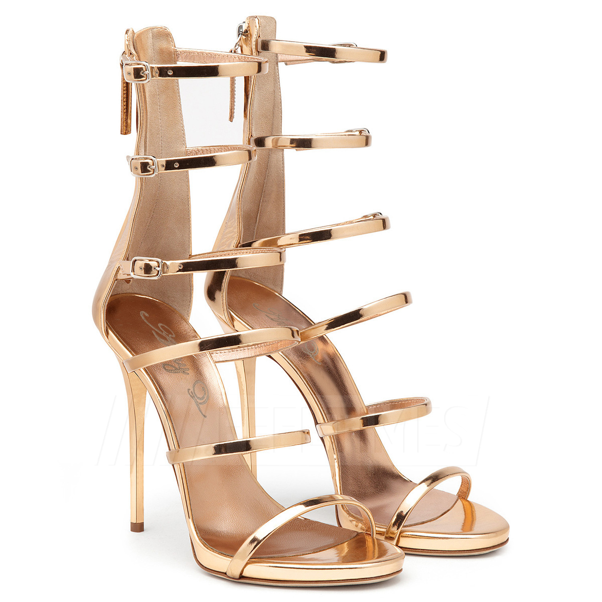Women's PU With Zipper Buckle Heels Sandals Fashion Shoes