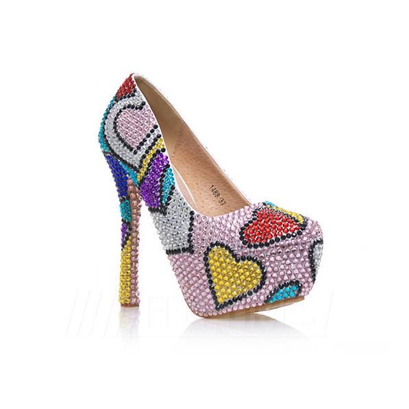 Women's PU With Rhinestone Close Toe Heels Pumps Shoes