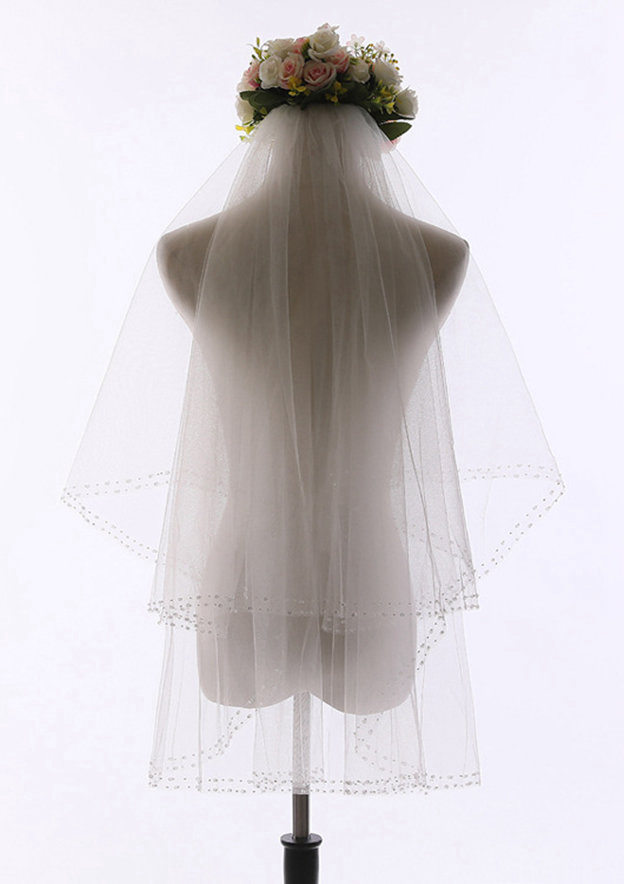 Two-tier Beaded Edge Tulle Fingertip Bridal Veils With Beading