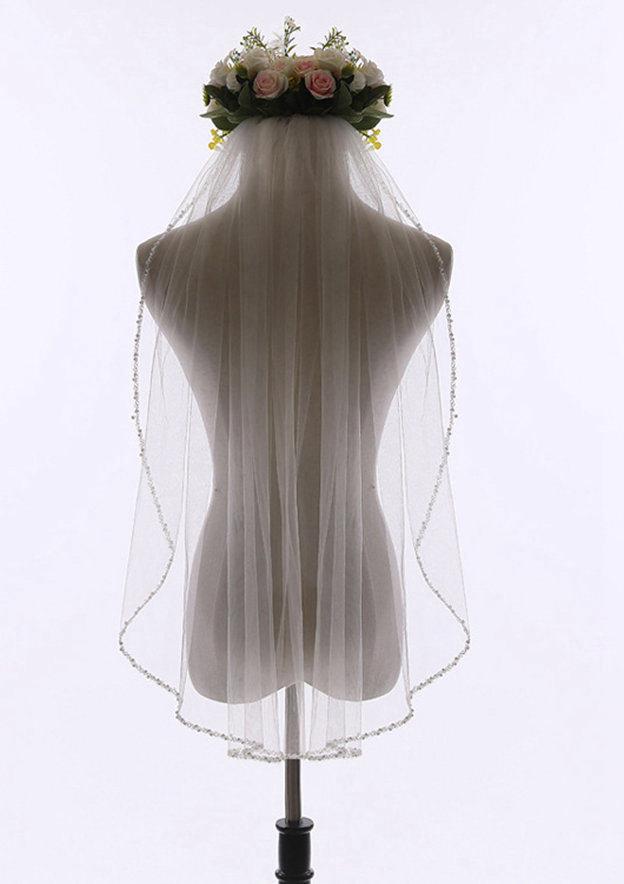 One-tier Beaded Edge Tulle Elbow Bridal Veils