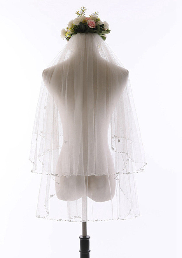 Two-tier Beaded Edge Tulle Elbow Bridal Veils