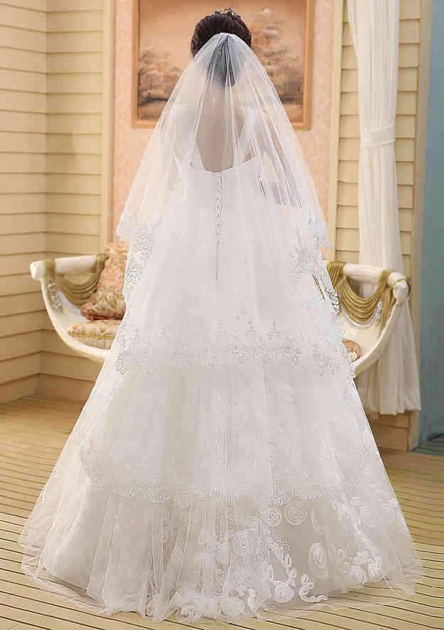 Two-tier Lace Applique Edge Tulle Waltz Bridal Veils