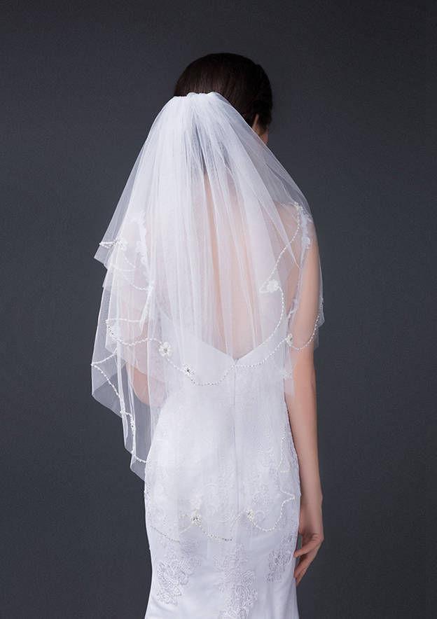 Two-tier Beaded Edge Tulle Fingertip Bridal Veils With Flower