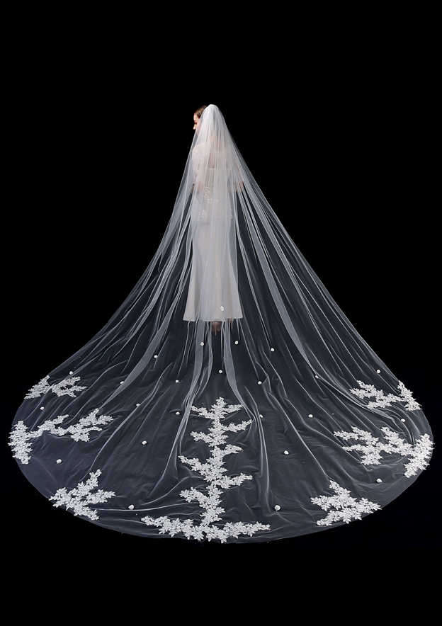 One-tier Cathedral Bridal Veils With Applique