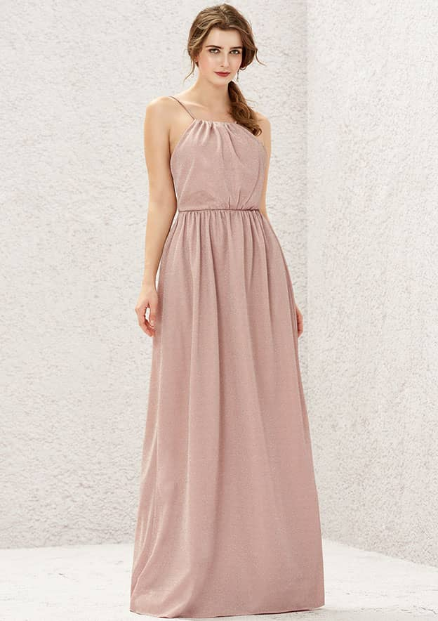 A-line/Princess Sleeveless Long/Floor-Length Jersey Bridesmaid Dress With Pleated