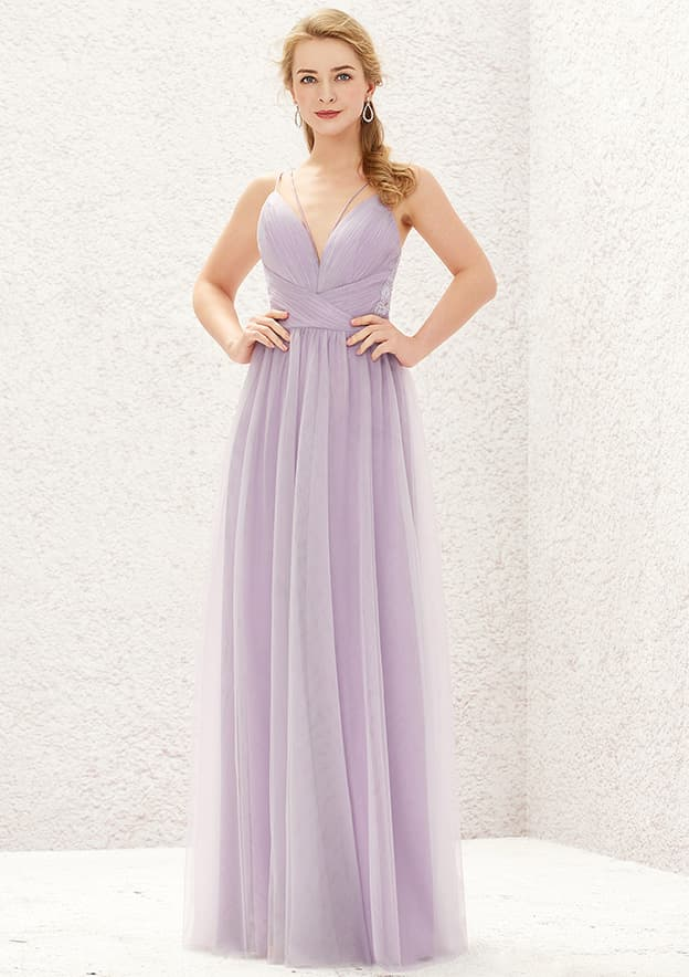 A-line/Princess Sleeveless Long/Floor-Length Tulle Bridesmaid Dress With Pleated