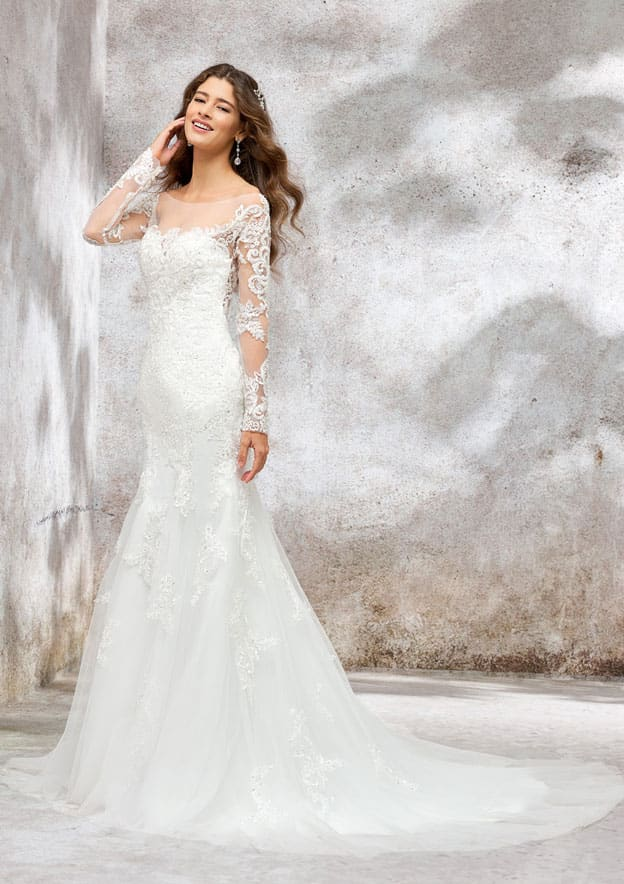 Trumpet/Mermaid Full/Long Sleeve Court Train Tulle/Satin/Lace Wedding Dress With Sequins