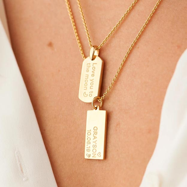 Personalized Gold Customized Engraved Rectangle Necklace