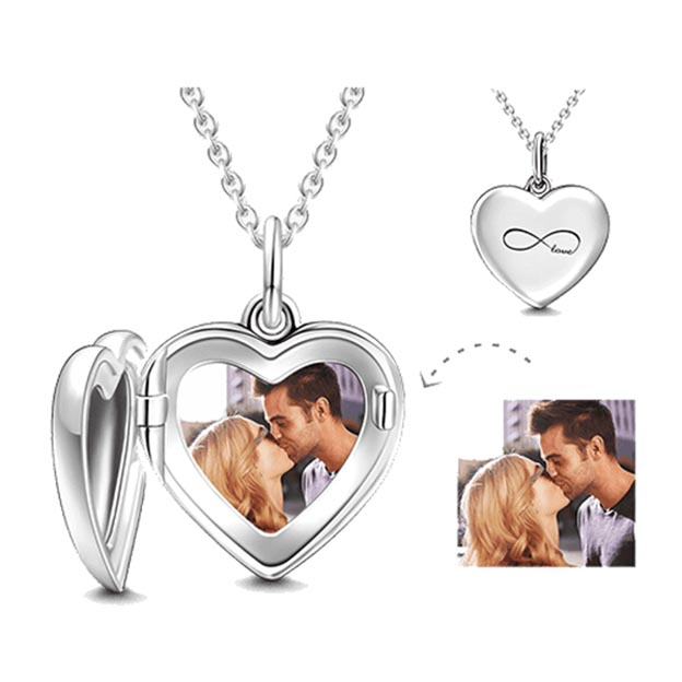 Personalized Heart Photo Engraved Necklace
