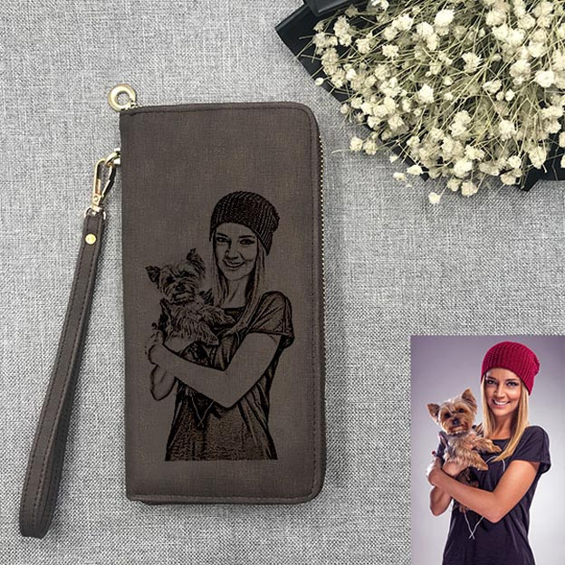 Customized Engraved Sketch Photo Leather Women's Unisex Dark Brown Wallet