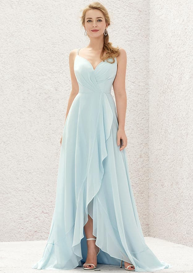 A-line/Princess Sleeveless Asymmetrical Chiffon Bridesmaid Dresses With Cascading/Ruffles/Pleated