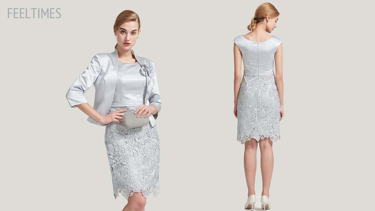 Mother of the Bride/Groom Dresses M18017M丨Knee-Length Mother Of The Bride Dress Outfit - FeelTimes
