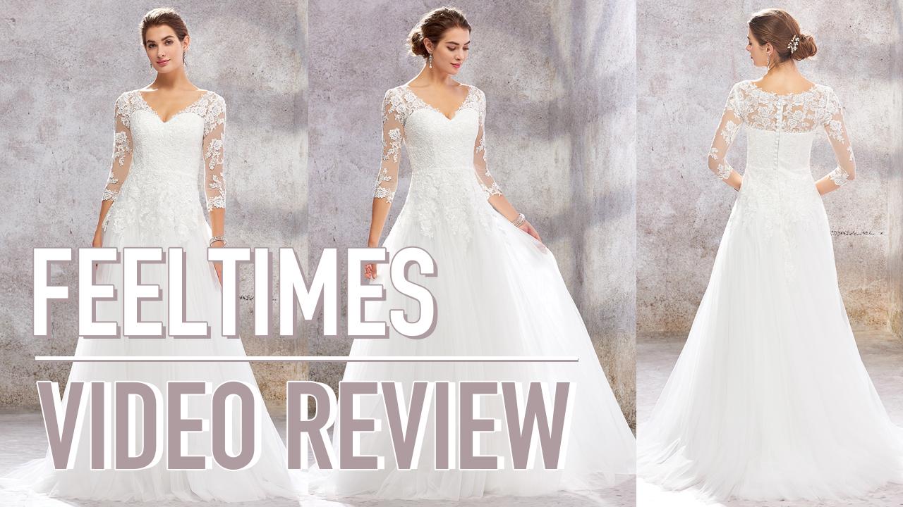 Wedding Dress M19145W丨A-line/Princess 3/4 Sleeve Sweep Train Lace/Tulle Wedding Dress - FeelTimes