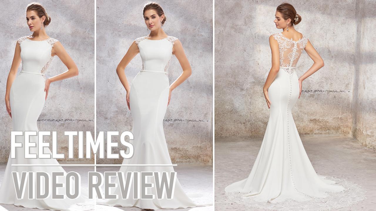 Wedding Dress M19132W丨Mermaid Court Train Elastic Satin Wedding Dress With Appliqued- FeelTimes